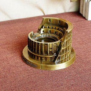 Modelo de aleación de metal de la estatua del Coliseo romano - Figuras famosas de modelos de construcción de hitos italianos - Retro Office Office Decor (13cm * 11.5cm * 7cm)