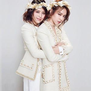 Nuova pista autunno di lana Miscela tweed del cappotto del rivestimento del fiore delle donne che borda il rivestimento di perle femminile a vita alta da donna Giacche