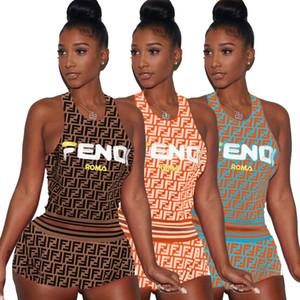 Mulheres roupas sem mangas shorts roupas de duas peças set casual impresso treino jogging esporte terno camisola regata shorts terno klw0927