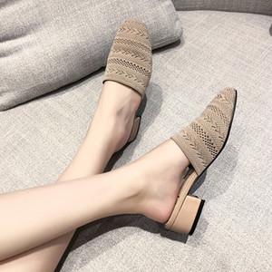 Örme yakın ayak terlik kadınlar kesip bez kalınlaştırmak takozlar topuk plaj ayakkabıları flipfloplar nefes katır dokuma ayakkabı sinek