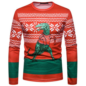 T engraçados do Natal shirt Homens Mulheres manga comprida camiseta Homme Casual 3D animal Imprimir Mens Slim Fit T-shirt Tops Harajuku