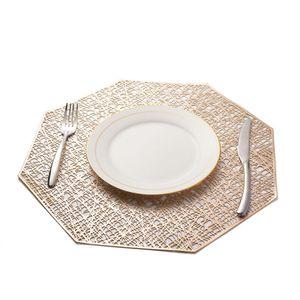1 / 6pcs manteles de PVC octagonal hueco a prueba de agua para la cocina con estilo Mantel Mesa de comedor cuenco Mats Potholders