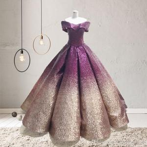 Di lusso di pendenza Paillettes della sfera di colore degli abiti di Quinceanera al largo della spalla sweep treno increspato principessa del pavimento da promenade di sera di lunghezza