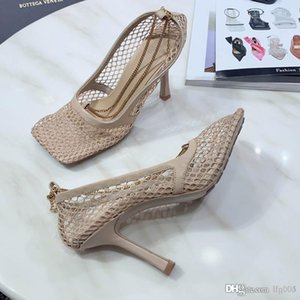 HOT 2020 spring and summer new women's STRETCH PUMPS mesh high heels sandals luxury designer delicate chain fashion classic with box