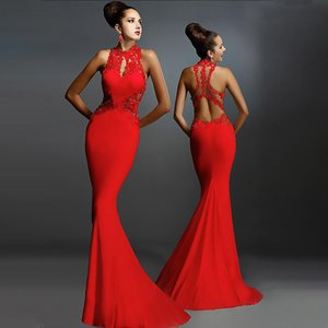 Fashion Backless Red Women Evening Party Dress Crew Neck Sleeveless Hollow Out Lady Long Dress Sexy Lace Wrap Woman Party Dress