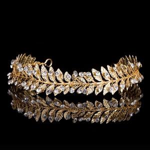 Mode Silber Gold-Metallblatt Crown Tiaras Strass Braut Kopfschmuck Hochzeit Haarschmuck