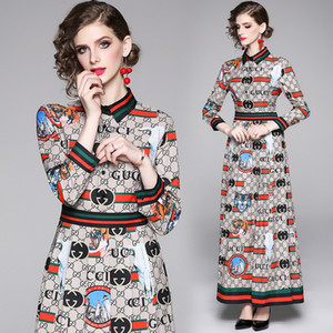 2020 Luxury Fashion Imprimé Robe plissée Femmes Mode manches longues revers cou piste dames Robes Slim Plus Taille Bureau Robe élégante