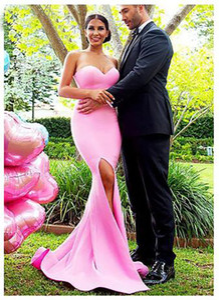 Einfache Meerjungfrau Brautjungfer Kleider Langer Schatz Side Split Geltendscheibe Gowns Prom Dress Hochzeit Guest Gowns Billig