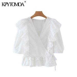 KPYTOMOA Kadınlar 2020 Sweet Moda Ruffled Beyaz Bluzlar Vintage V Yaka Kısa Kollu Yan Bağlı Kadın Gömlek blusas Şık Tops