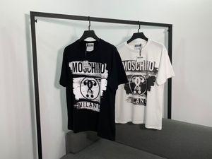 Yeni varış lüks markalar tasarımın moschinos grafiti siyah beyaz pamuklu Tee Gömlek Erkekler Kadınlar Streetwear Kazak Açık T-shirt