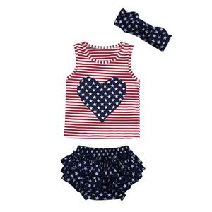 Toddler Baby Clothes 4th Of July Love Star Striped Patriotic Tops+ruffles Shorts Outfits Independence Day Kid Baby Girl Clothes