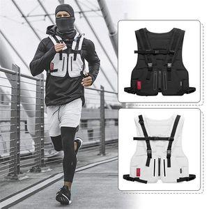 Nueva multifunción chaleco táctico deportes al aire libre aptitud de los hombres protectora reflexiva de Gaza Tops Chaleco cremallera Bolsillos cintura bolsa
