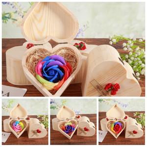 Love Heart Verholzung-Boxen mit bunten Blumen-hölzerner Kasten Seifen-Blumen-Valentinstag sieben Farben Rosen-Hochzeit Festival Nützliche 9ky H1