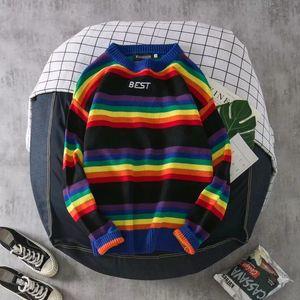 Men's & Women's Sweater Fashion Mens Rainbow Striped Hoodies Casual Couple Loose Crew Neck Sweatshirt 2 Styles Size M-2XL