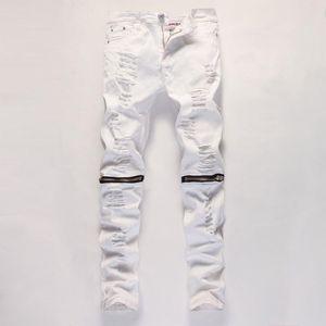 Tobillo de la cremallera Jeans para hombre delgado recto apenada Agujero rasgado los pantalones vaqueros de los hombres Negro Blanco Rojo flaco del basculador de los pantalones del varón Diseñador pantalones