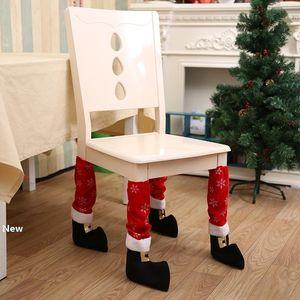 Gambe Calzini tavola di Natale sedia piede Copertura calza di Santa Boots decorazioni Hotel Restaurant Bar Stool Tabella coprisedie caso GGA2826