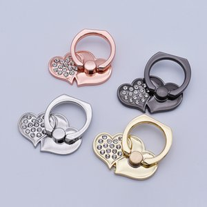 Double Heart Rhinestone Metal Finger Ring Grip Holder Love 360 Degree Rotation Kickstand Stent Universal Bracket Stand for Cell Phone Tablet
