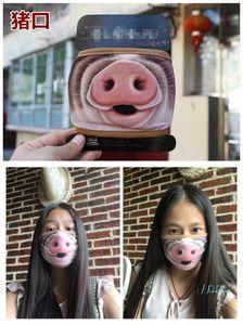 Máscara dos desenhos animados 3D máscara protetora Big Mouth Pig Funny Face Dustproof lavável Stretchy Earloop Cotton Warmer cobrir a boca para as Mulheres Homens D42701