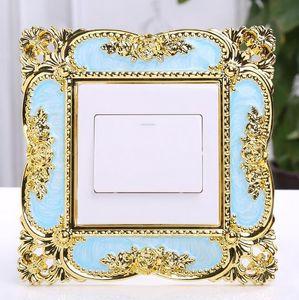 Смола Элегантный Single Выключатель света Объемное гнездо Finger плиты панели декора стены цветок пластиковые наклейки оптовой