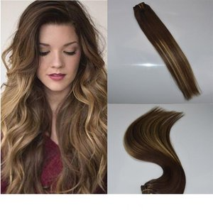 """ombre color #3 Fading to #24 14""""-24"""" 7Pcs 120G balayage highlights Full head real human hair clip in extensions"""