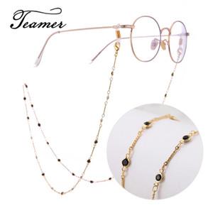 Teamer 78 centímetros Moda óculos cordão pingente Strap Metal Ouro óculos Black Crystal Glasses Cord cadeia para mulheres