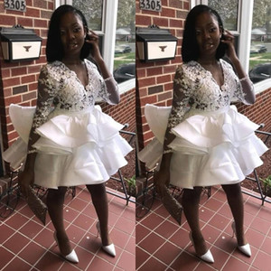 African Homecoming Dress Black Girl Sexy Lace White Short Prom Dress Handmade Flowers V-neck Long Sleeve Mini Graduation Party Gowns
