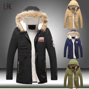 Men Winter Casual Jacket Parka Mens Slim Thicken Fur Hooded Outwear Warm Coat Male Hooded Brand Clothing Man Solid Long Parkas Y191211