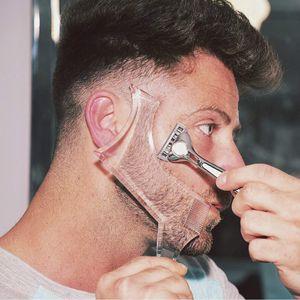 Hommes Barbe Mise en forme Styling Modèle peigne noir transparent Barbes hommes Combs outil de beauté pour cheveux Barbe Garniture Modèles