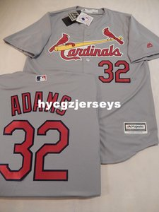 baseball pas cher MENS St Louis # 32 MATT ADAMS Sewn COOL BASE Jersey GREY Mens maillots cousu Big and Tall TAILLE XS-6XL à vendre