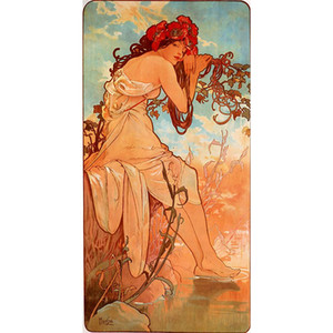 Modern art Summer Alphonse Mucha figure Oil painting Romantic woman picture for living room decor