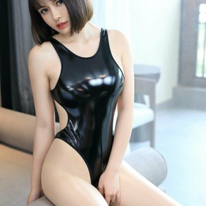 New Style Sexy Frauen Playsuits Dessous Wetlook PU-Leder-Catsuit Bodysuit Clubwear Nachtwäsche Fest Backless feste Damen 2019