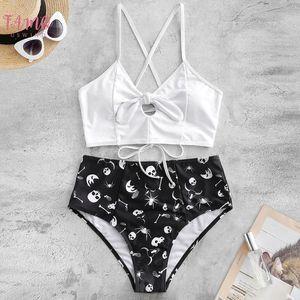 Swimwear Women Skull Print Split High Waist Bikini Twist Knoted Bikinis Lace Up Cross Bandage Lady Bathing Suit Biquini