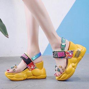 Rimocy chunky platform big rhinestones pvc sandals women summer fashion transparent super high heels wedges sandalias mujer 2019 lll