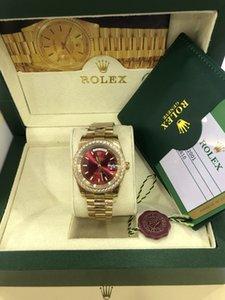 Avec Day Président boîte originale date en or 18 carats perpétuelles hommes montres de luxe Diamond Bezel bracelet en acier inoxydable d'origine Hommes Montres Automatiques