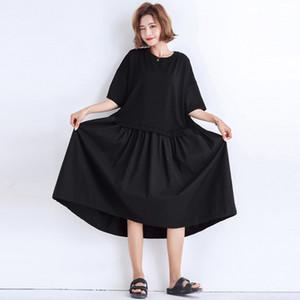 Johnature new casual coreano cor sólida solto summer dress para mulheres o-neck meia manga patchwork simples pullover vestidos 2019