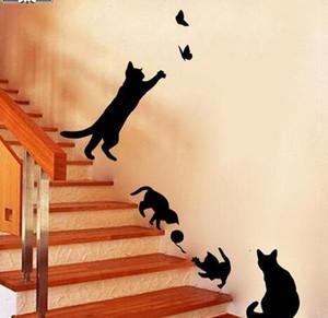 1 комплект / пакет новый прибыл кошка играть бабочки стикер стены съемные украшения наклейки для спальни кухня гостиная стены