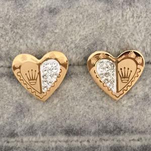 Asla Soluk En Kaliteli Altın Renk Kalp Şekli Saplama Küpe Kadınlar için Moda Hakiki Takı Emaye Parti Hediye Toptan