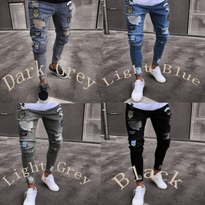 Mens Letter Painted Hole Skinny Hight Waist Pencil Pants Casual Male Clothing Plus Size Mens Jeans