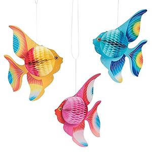 Multicolor Bunte Seidenpapier Goldfisch tropische Fische Seetiere Hängen faltbare Party Supplies-Verzierung-Dekoration