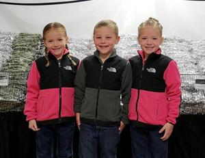 Bambini panno morbido di inverno Windbreaker cappotti The North Junior casual giacca softshell del fronte delle ragazze dei ragazzi Warm cappotti NF marca Outfit Sport Wraps