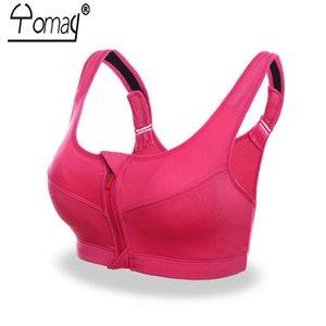 Yomay Professional Women Sport Bra anteriore della chiusura lampo esecuzione Yoga Sport reggiseno push up antiurto Wirefree Bassiera forma fisica della maglia