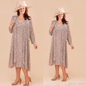 Плюс размер мать невесты платья с длинными куртки Кружева аппликация свадебные платья для гостей чай Длина пляжа Формальный Wear