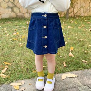 Frühlings-Modell-Kinderkleidung koreanische Version des niedlichen Einreiher Wilder Denim-Rock-Kind-Baby-Wort-Rocks