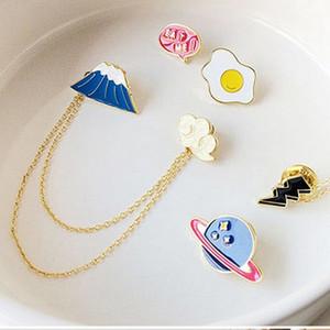 Bijoux animé Mignon Fuji Planète Planète Omelette Lucky Cat Nuage Collier Broche