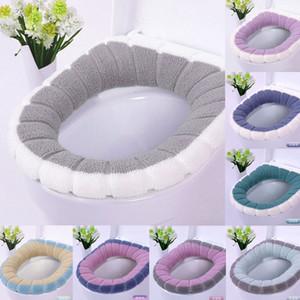 2020 más nuevo baño extraíble de asiento de inodoro Mat borra de algodón caliente suave Closestool lavable cubierta suave cálido Mat Cojín
