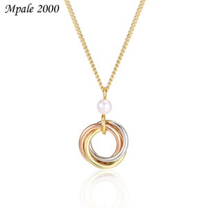 Colorful Ring Hollow Necklace simple and versatile pearl necklace multi ring Korean style fashion collarbone chain woman