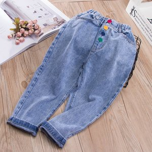 Kids Spring Summer Stonewashed Jeans Wholesale Kids Casual Clothing Cowboy Boy Cropped Trousers Toddler Girl Button Denim Pants