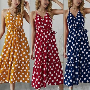 고삐 비대칭 프릴 탱크 폴카 도트 드레스 여자 섹시한 오프 숄더 여름 드레스 보헤미안 비치 드레스 여자 sundress에 J190515