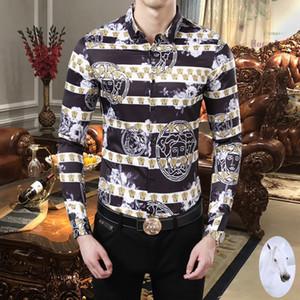 2019 nouveau luxe marque de mode logistique libre chemises à manches longues Medusa haute qualité tendance de la mode européenne et américaine chemise hommes