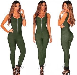 Army Green 2019 Elegant Women Sexy Bodycon Bandage Jumpsuit Long Overalls Club Party Playsuits Sleeveless Front Zipper Jumpsuit
